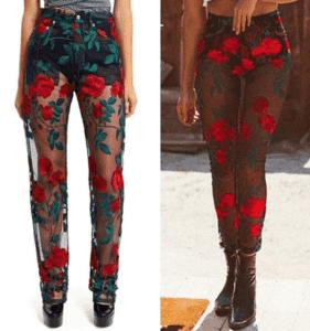 AdamSelman_WildOnes_Black_Mesh_Pants_Floral_RedRoses_Plagarism_Insperation_Shopping_Brand_Fashion