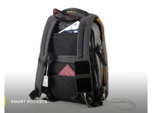 smart pockets-Numi-backpack-smart-travel-solar-sun-organisation-technical-powerbank-multipurpose-water resistant-safe