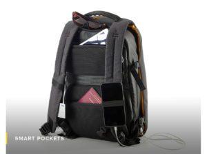 smart pockets-Numi-backpack-smart-travel-solar-sun-organisation-technical-powerbank-multipurpose-water resistant-safe